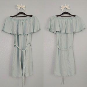 NWT chambray off-shoulder dress